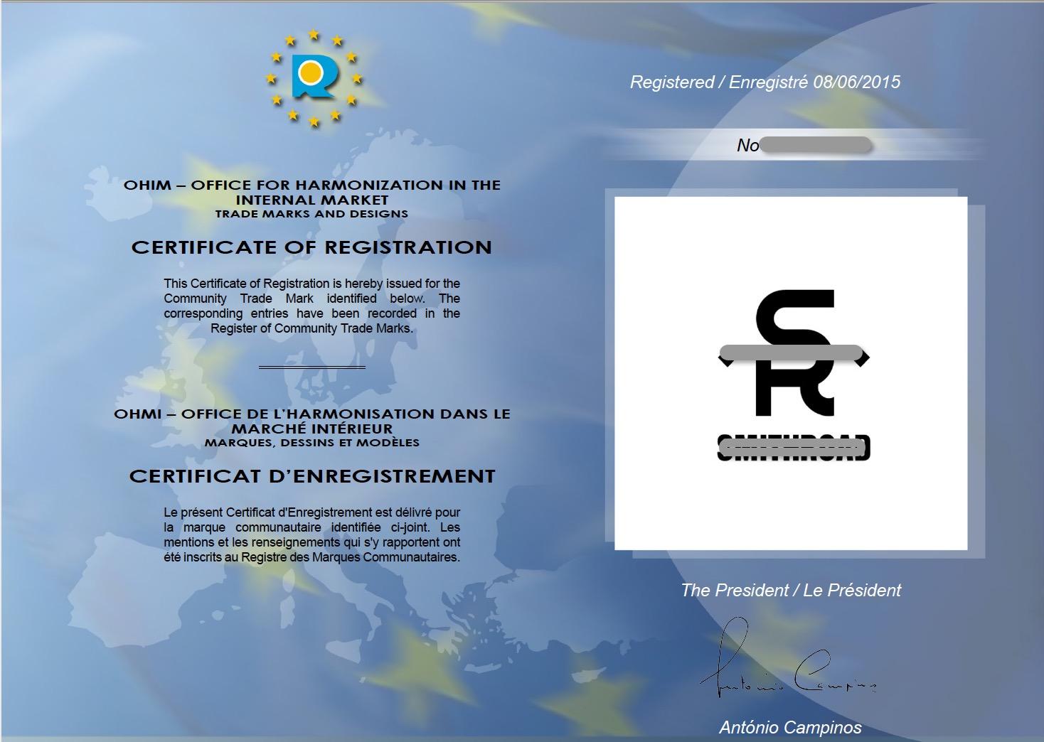 欧盟商标证书